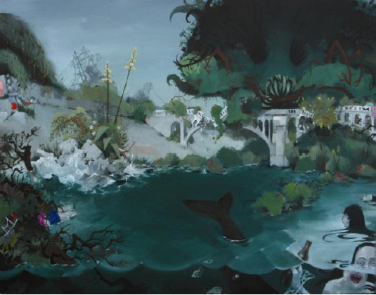 Ako Castuera, Water & Power, Oil on wood panel, 2008, 22 x 33 inches